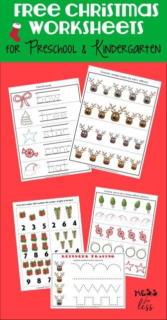 Free Preschool And Kindergarten Worksheets For Christmas