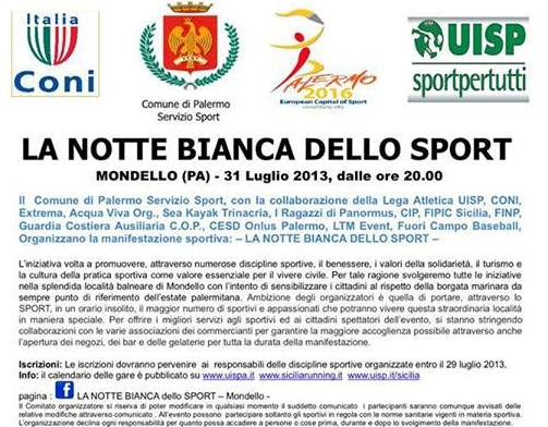 """Tutto su """"Mondello la Notte Bianca dello Sport"""""""