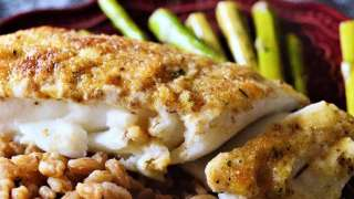 Buttery Parmesan Lemon Herb Baked Halibut