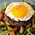 Mushroom Black Bean Patty Breakfast Stack