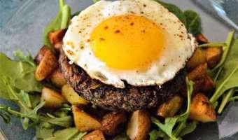 Mushroom Black Bean Patty Breakfast Stack
