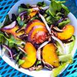 Grilled Peach Salad with Grilled Lemon Honey Dijon Dressing