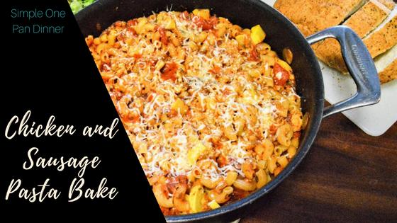 Chicken and Sausage Pasta Bake Title