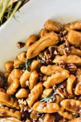 Sweet Potato Gnocchi in a Pecan Maple Sage Sauce Close