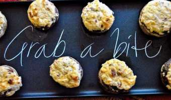 Bacon and White Cheddar Stuffed Mushrooms Feature