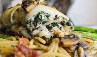 Shrimp and Spinach Flounder Roll Up with Baby Bella Spaghetti