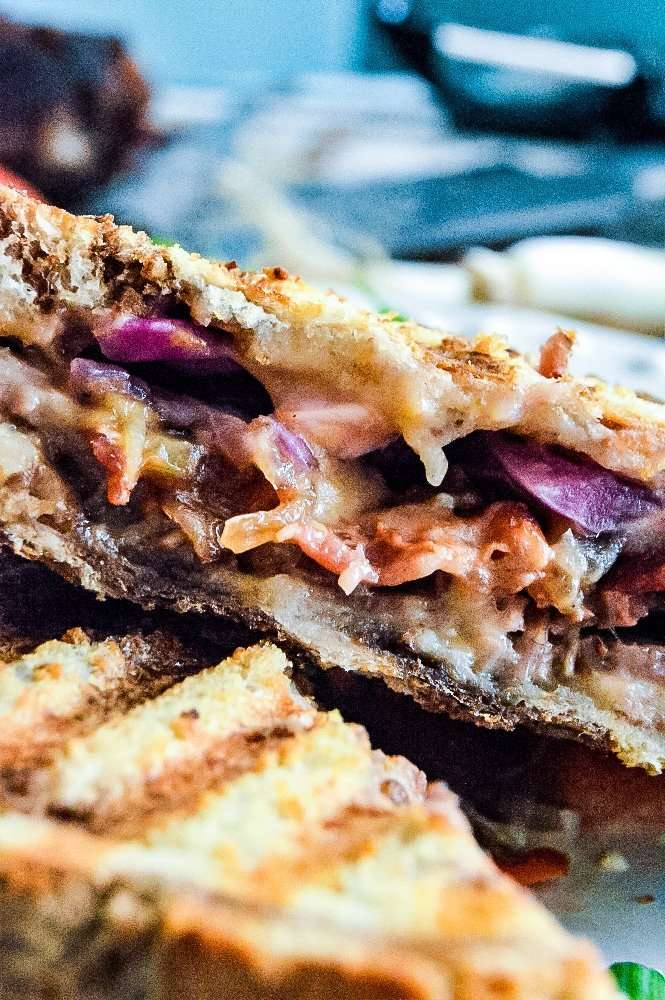 Beer Cheese Corned Beef Panini up close