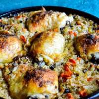 Peppers and Onions Chicken and Rice Skillet