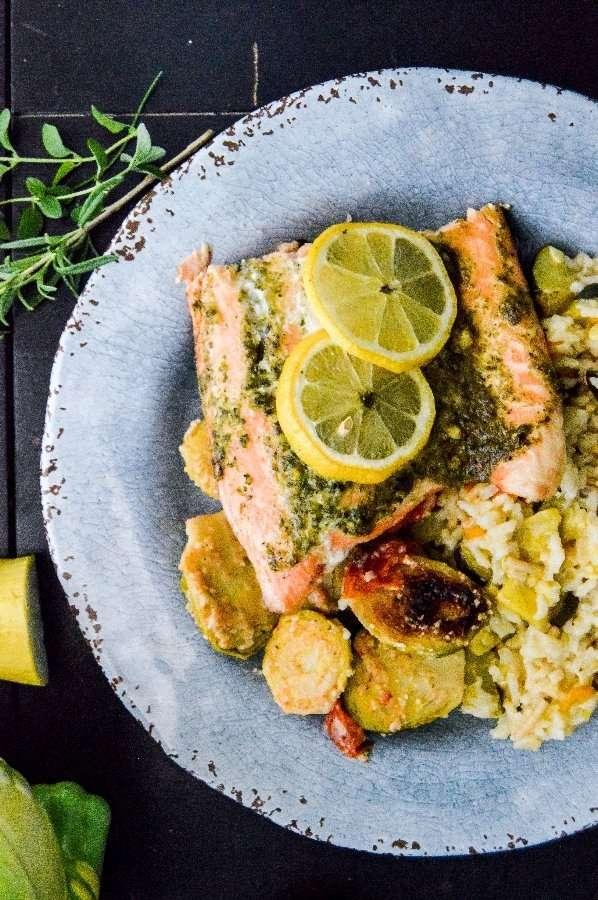 Grilled Lemon Herb Salmon meal