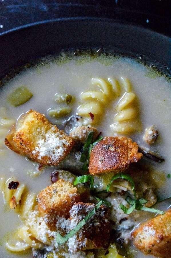 Lemon Herb Chicken Noodle Soup Close