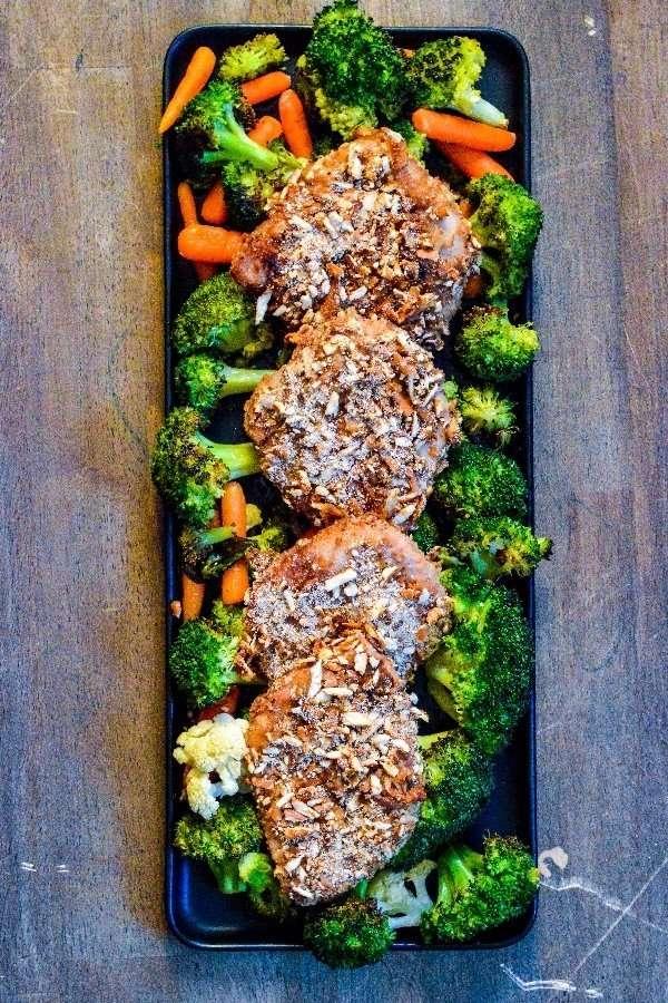 Honey Mustard Pretzel Pork Chops Complete Tray