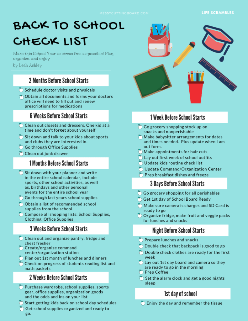 Back to School Readiness Check list