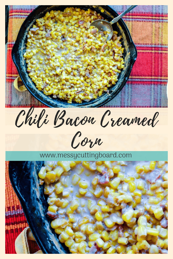 Pinnable image for chili bacon creamed corn