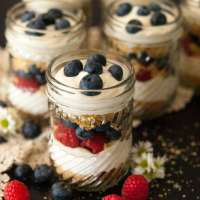 Red White & Blue Vanilla Cheesecake Mousse
