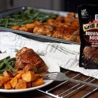Brown Sugar Bourbon BBQ Sheet Pan Chicken & Sweet Potatoes