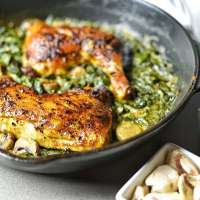 Roasted Cast Iron Chicken With Spinach Saute