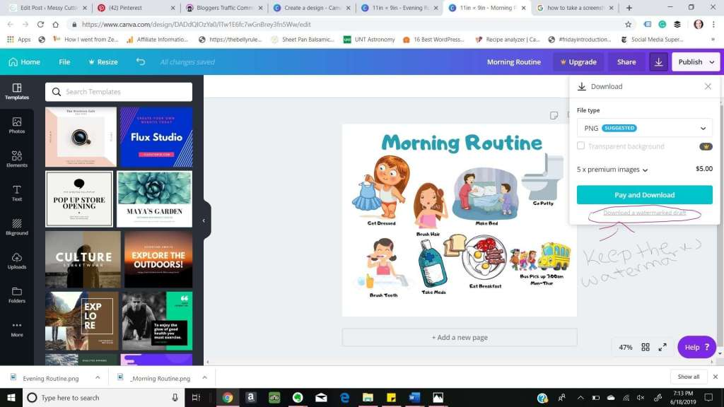 How to Morning Vs Night Routine Canva Size Download