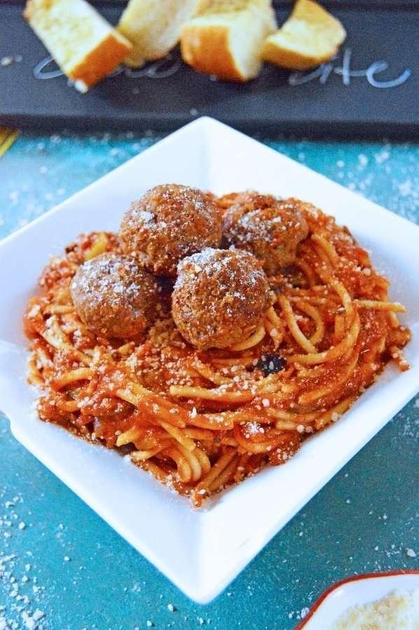 Full Plate Hidden Veggie Meatballs and Spaghetti