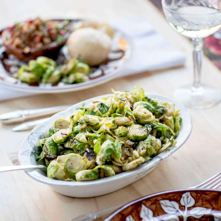 Easy Brussels Sprouts with Pinenuts and Parmesan