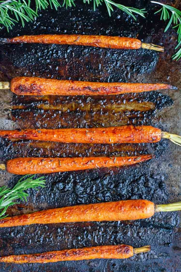 Honey Herb Roasted Carrots with Balsamic Vinegar