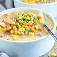 Instant Pot Potato Corn Chowder | Vegan