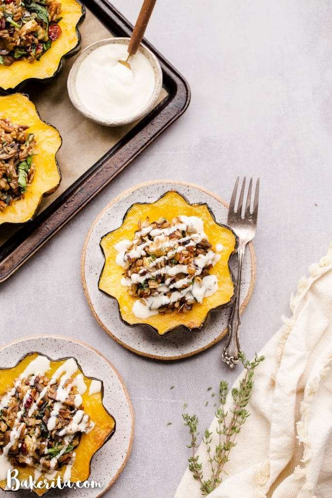Mushroom & Wild Rice Stuffed Acorn Squash (Gluten Free + Vegan) • Bakerita
