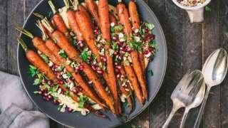 Harissa Carrots with Toasted Hazelnuts & Pomegranate
