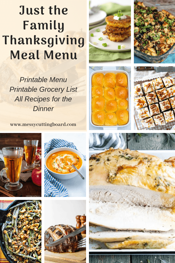 Pinnable Just the Family Thanksgiving Meal Menu
