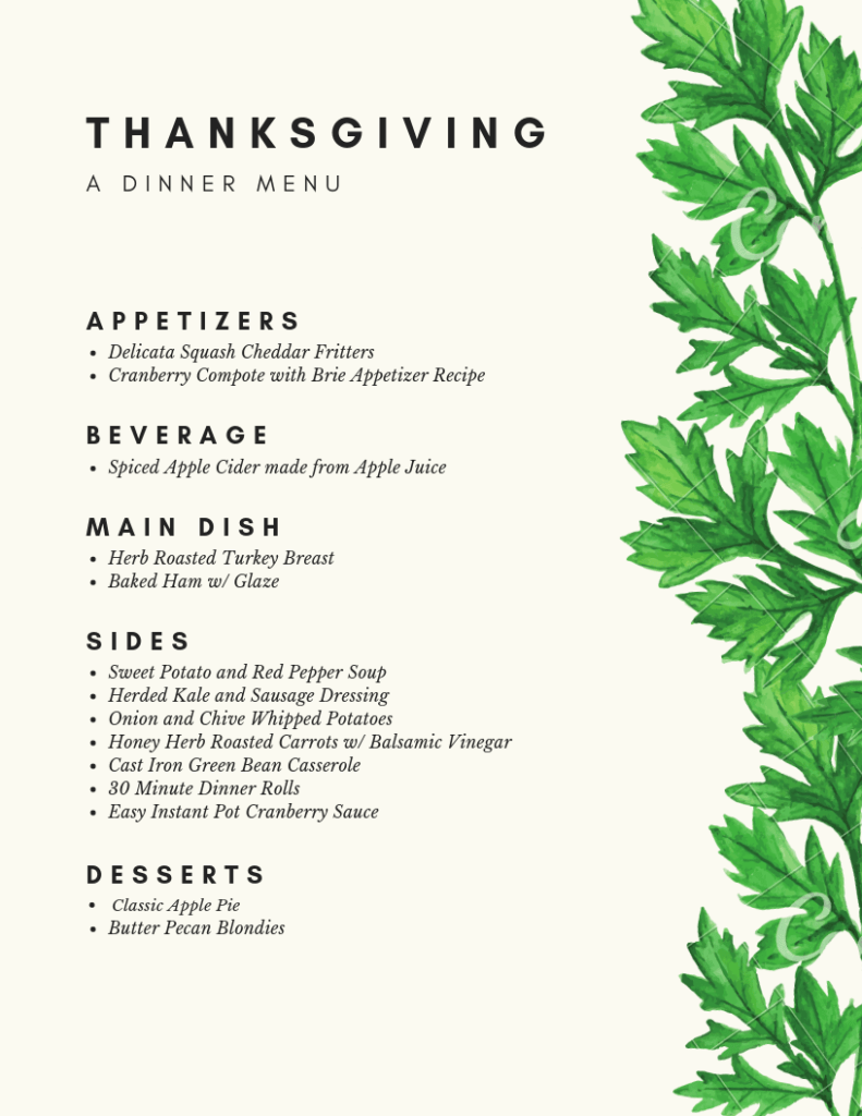Printable Menu Just the Family Thanksgiving Meal Menu
