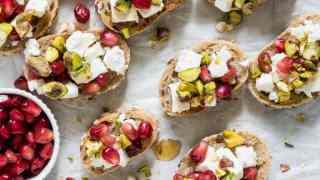Pistachio, Feta and Pomegranate Crostini Recipe
