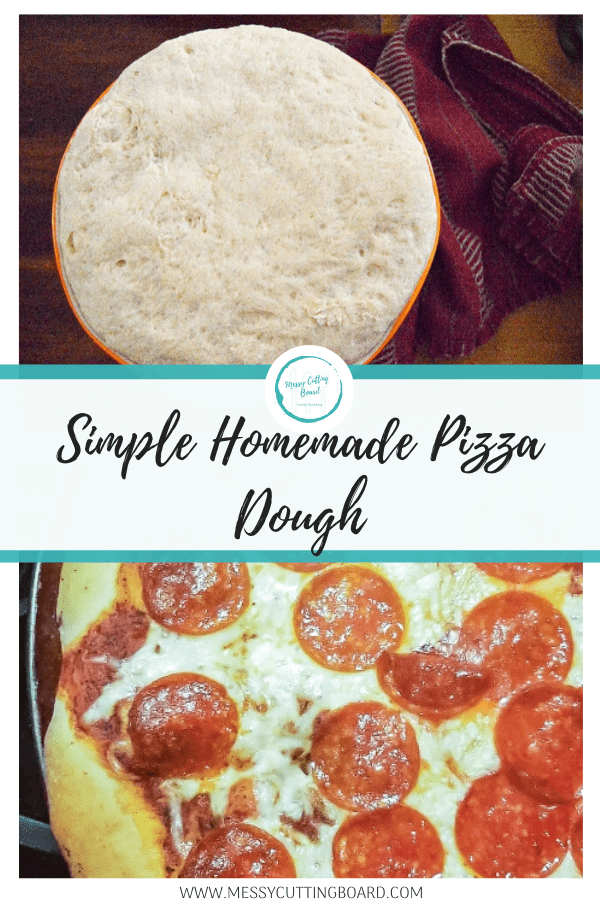 Pin me image for simple homemade pizza dough