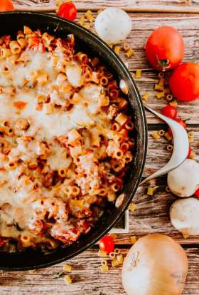 Close up of chicken and sausage skillet dinner perfect family dinner for a busy weeknight