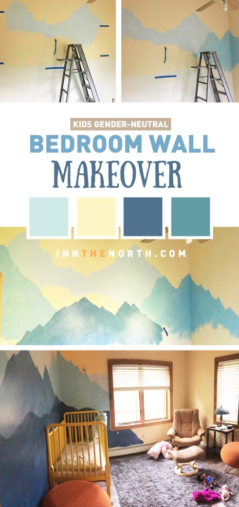 Kids Bedroom wall mural makeover