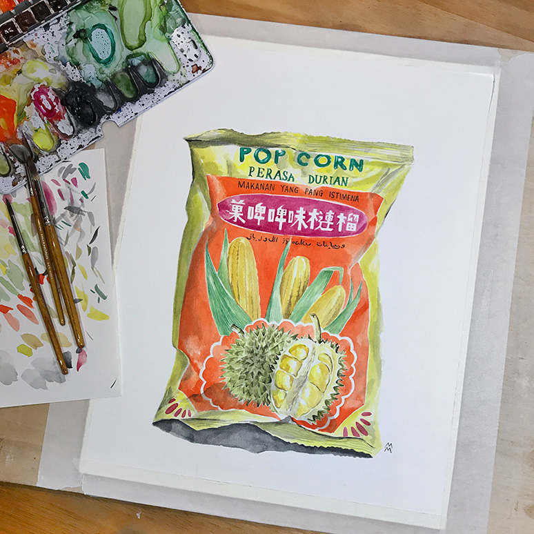 MessyMsxi_watercolour_popcorn_durian