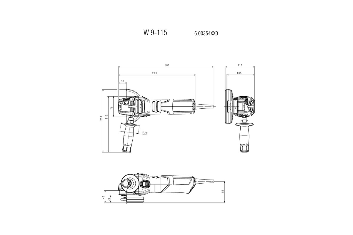 hight resolution of w 9 115 600354420 4 1 2 angle grinder metabo power tools rh metabo com metabo