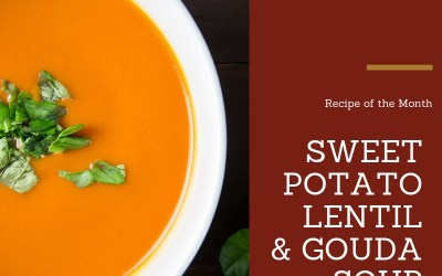 Sweet Potato, Lentil and Gouda soup