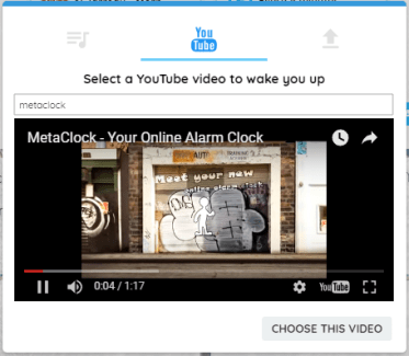 Alarm clock tune window - select a YouTube video