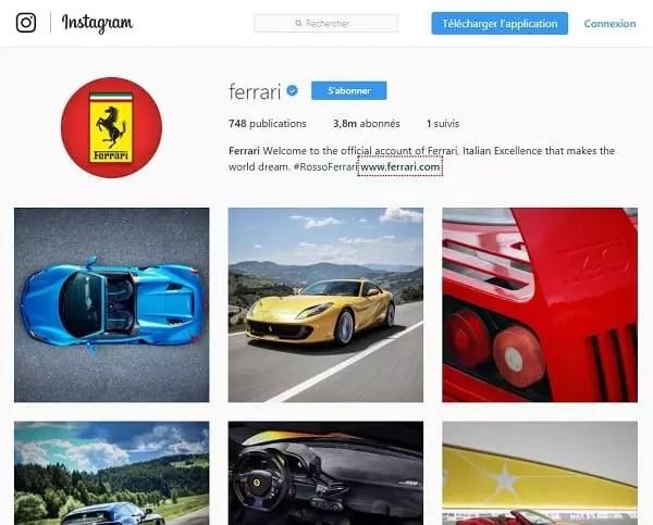 Marque de luxe Ferrari sur Instagram