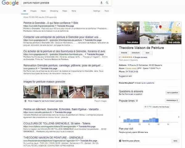 exemple de résultats de recherche google