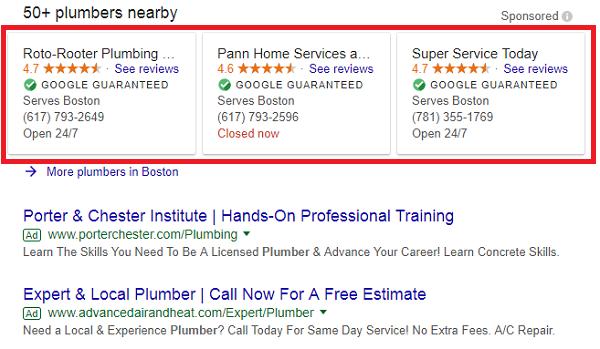 Exemple d'annonces de recherche locales dans les résultats de recherche Google