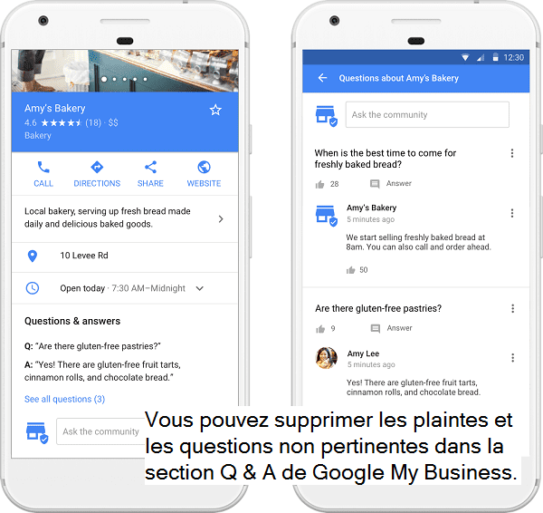 Exemple de questions / réponses sur Google My Business