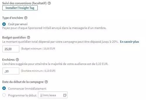 Prix publicité Linkedin envoie inmail sponsorisé
