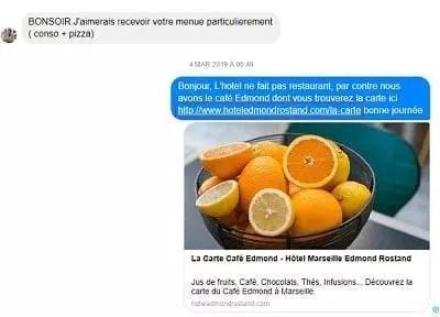 Un hôtel répond aux commentaires d'un client sur Facebook