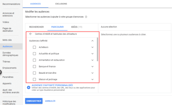 Une capture d'écran de la sélection de sujets dans Google Ads