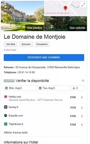 Capture d'écran de la fiche Google My Business
