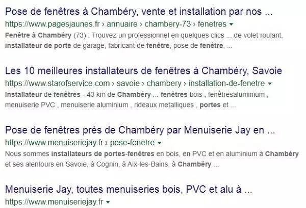 Exemple de classement des résultats de recherche organiques pour le mot clé installateur de portes et fenêtres Chambery