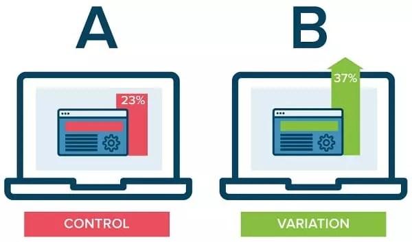 comparaison de deux boutons différents pour le test a/b