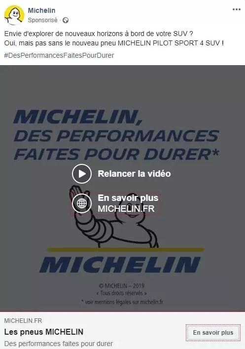 Publicité vidéo Facebook Michelin