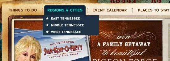 Capture d'écran du menu de navigation Tennessee Vacation.