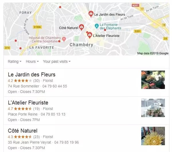 Pack 3 local Google Fleuriste Chambery